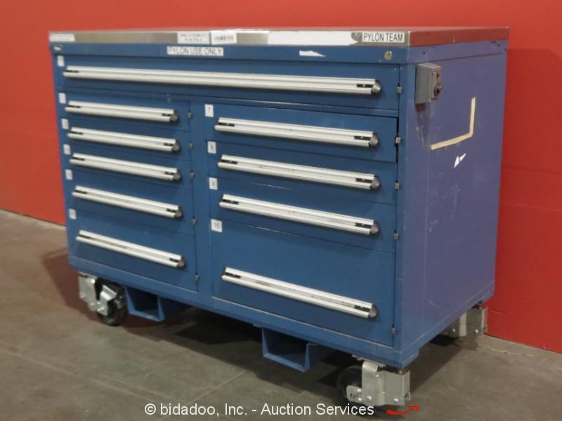 stanley vidmar 10 drawer portable tool cabinet shop equipment storage box. Black Bedroom Furniture Sets. Home Design Ideas