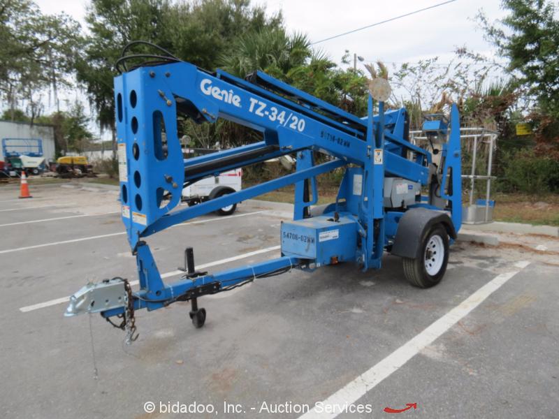2011 Genie Tz34  20 34 U0026 39  Electric Towable Boom Lift Man