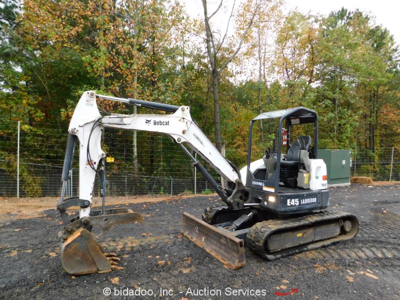 2013 Bobcat E45 Mini Hydraulic Excavator Rubber Hyd Thumb Q/C 2-Spd bidadoo