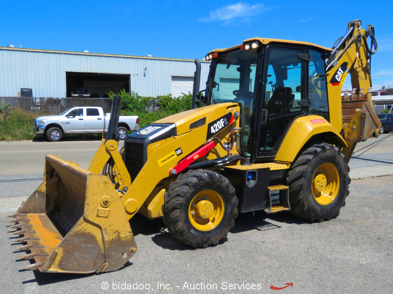 2015 Caterpillar 420F2 Backhoe Loader A/C Cab E-Stick 4in1 Bkt Aux Hyd Q/C