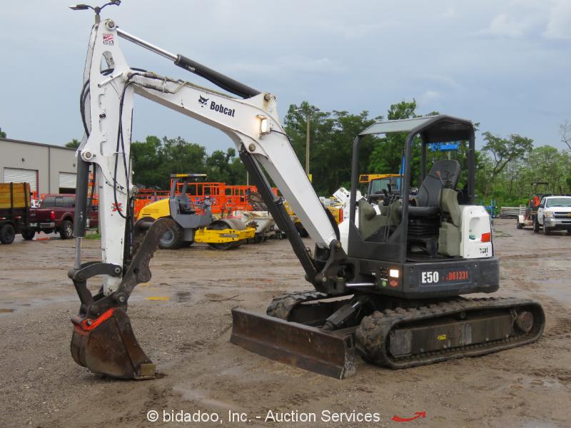 2014 Bobcat E50 Hydraulic Mini Excavator Aux Hyd Thumb Manual Q/C 2-Spd bidadoo