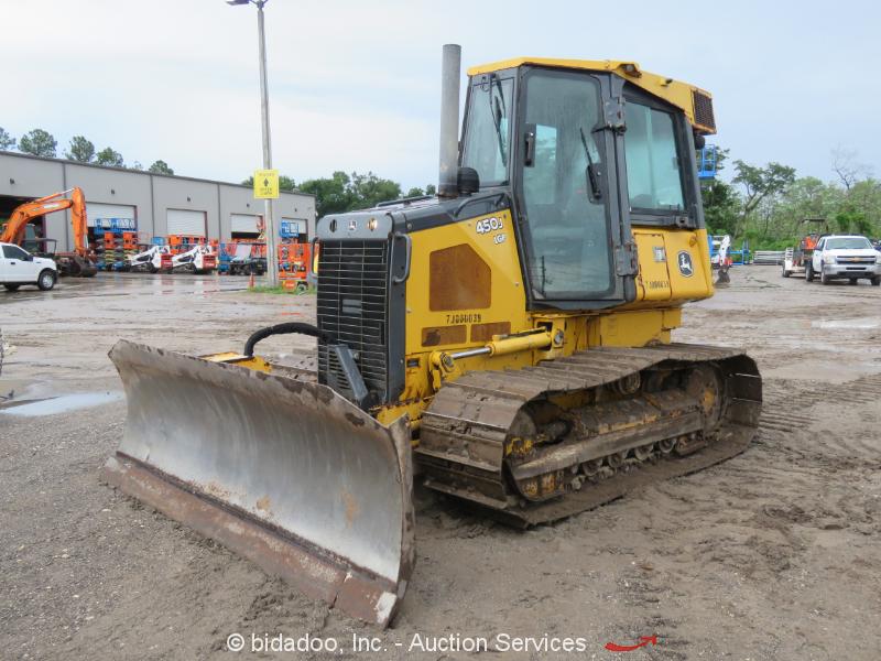 "2014 John Deere 450J LGP Crawler Dozer Tractor 124"" 6-Way Blade AC Cab bidadoo"