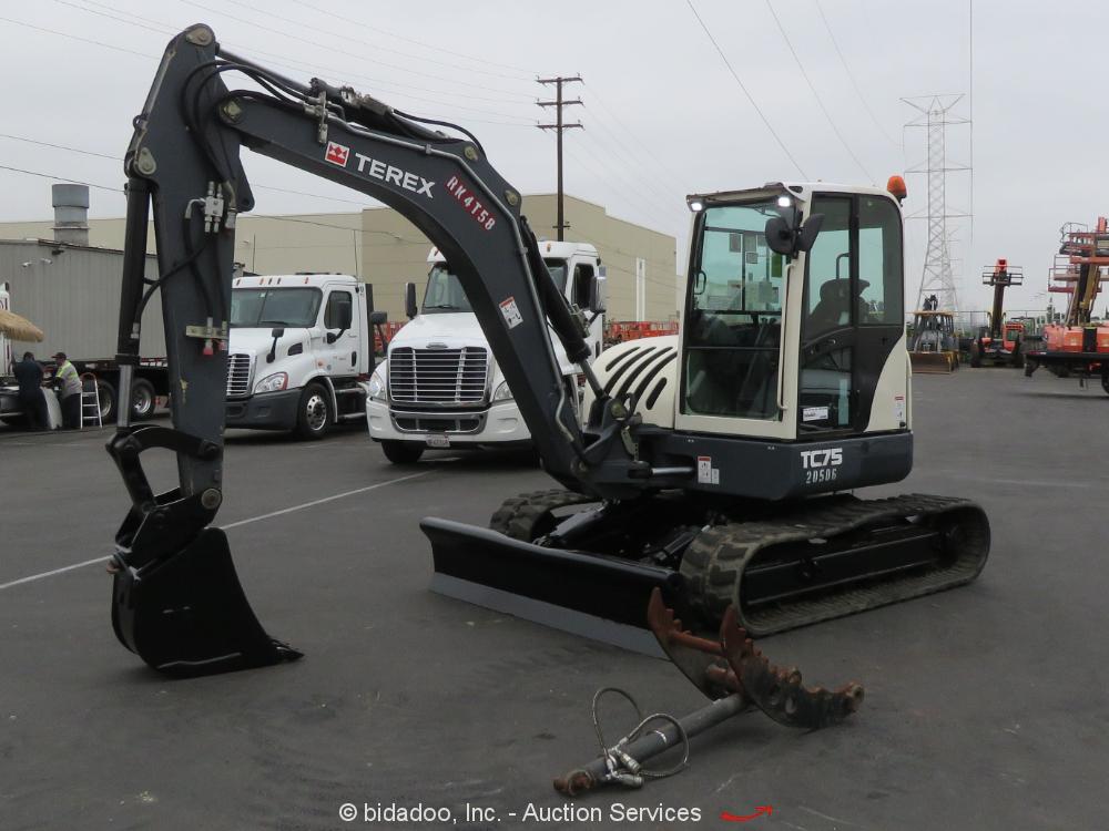 2015 Terex TC75 Midi Excavator Backhoe Mini Enc Cab Hyd Thumb Deutz bidadoo