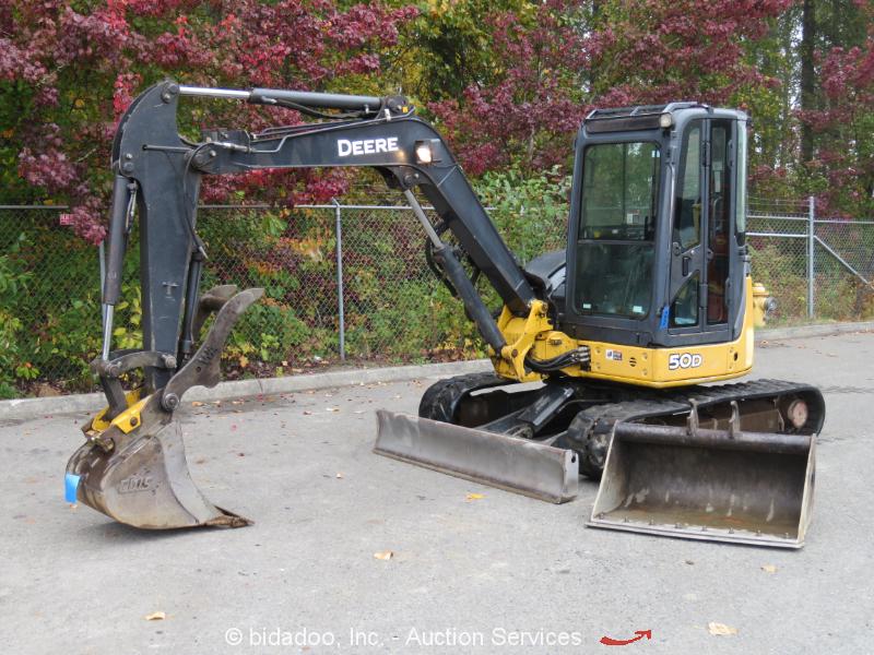 2008 John Deere 50D Mini Excavator Hydraulic Thumb A/C Cab Q/C Blade bidadoo