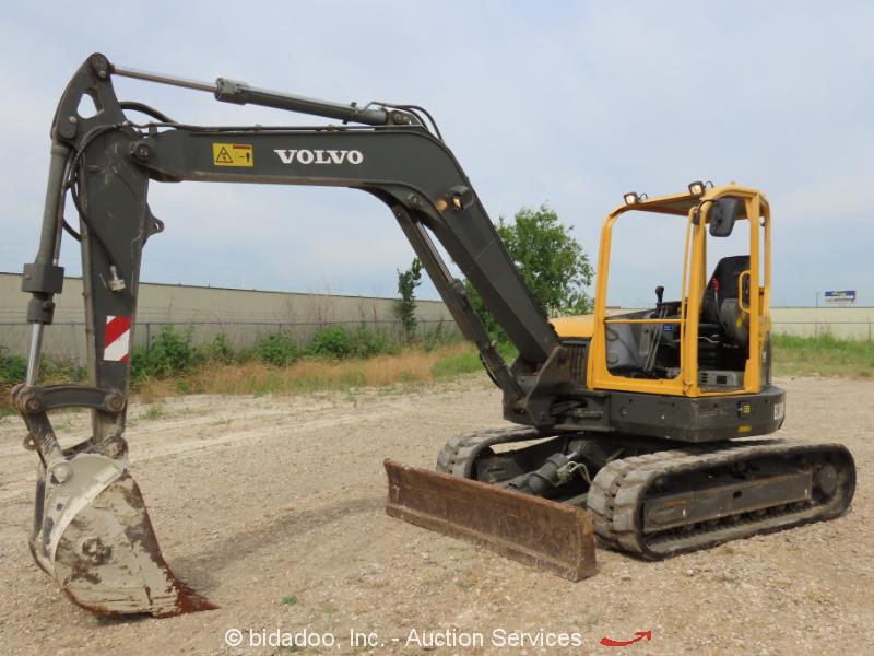"2012 Volvo ECR88 Mini Excavator Rubber Tracks Backhoe Aux Hyd 90"" Blade bidadoo"