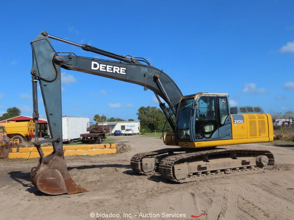 2014 John Deere 210G LC Hydarulic Excavator A/C Cab Trackhoe Tractor bidadoo