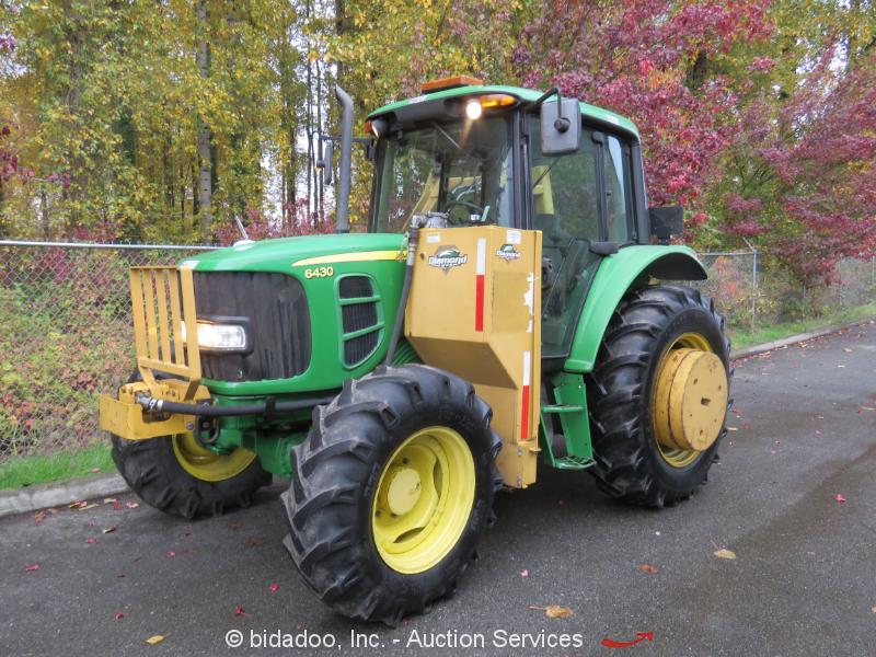 "2008 John Deere 6430 Ag Tractor 4WD Cab A/C Diamond 48"" Flail Mower Boom PTO"
