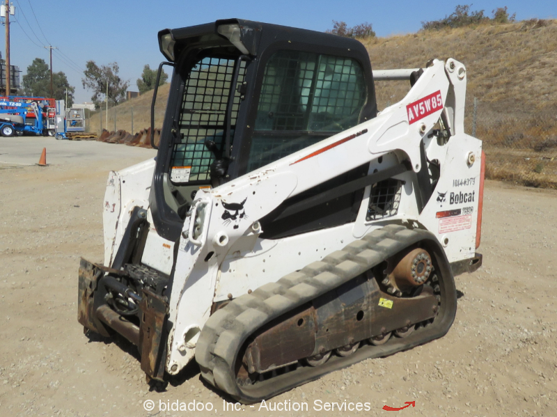 2014 Bobcat T590 Skid Steer Track Loader Cab Crawler Aux Hyd Rubber bidadoo