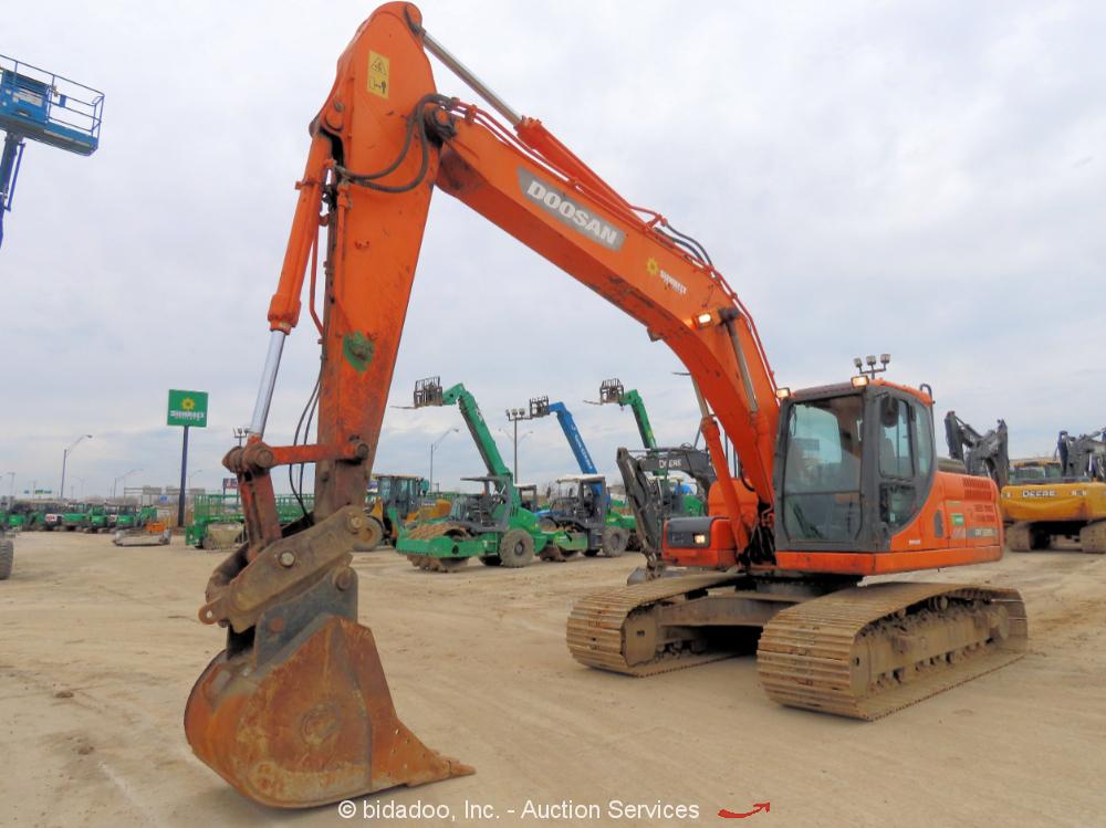 2013 Doosan DX225LC-3 Hydraulic Excavator A/C Cab Aux Hyd Trackhoe Q/C bidadoo
