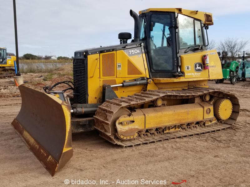 "2014 John Deere 750K LGP Crawler Dozer A/C Cab 6-Way 156"" Blade Tractor bidadoo"