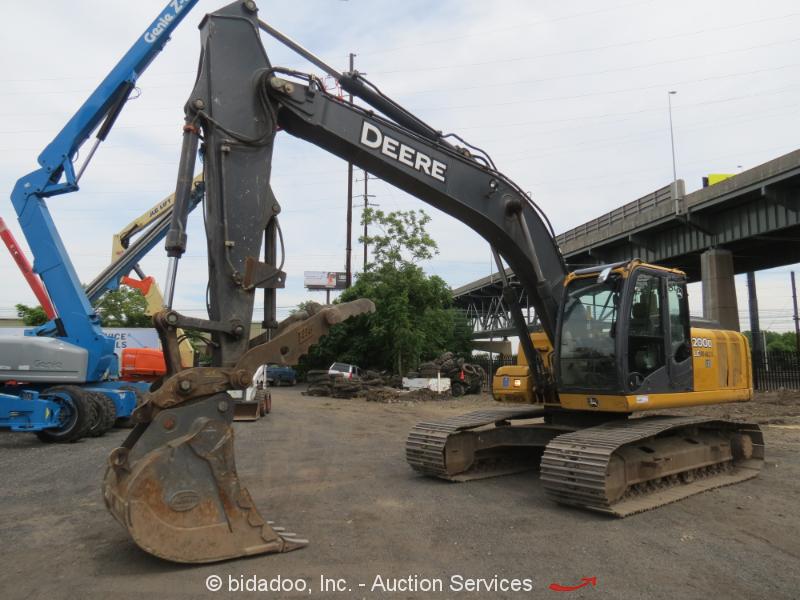 "2012 John Deere 200DLC Excavator 42"" Bucket Cab A/C Heat Aux Hyd Thumb bidadoo"