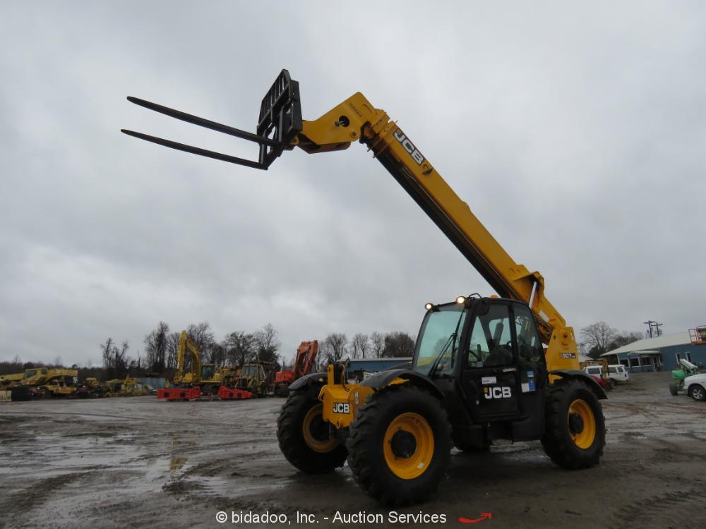 2014 JCB 507-42 7,000 lbs Telescopic Reach Forklift Cab A/C Telehandler bidadoo
