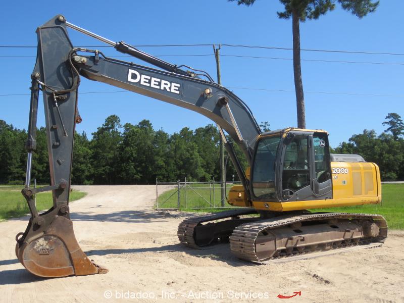 "2012 John Deere 200DLC Excavator Aux Hydraulic A/C Cab 42"" Bucket bidadoo"