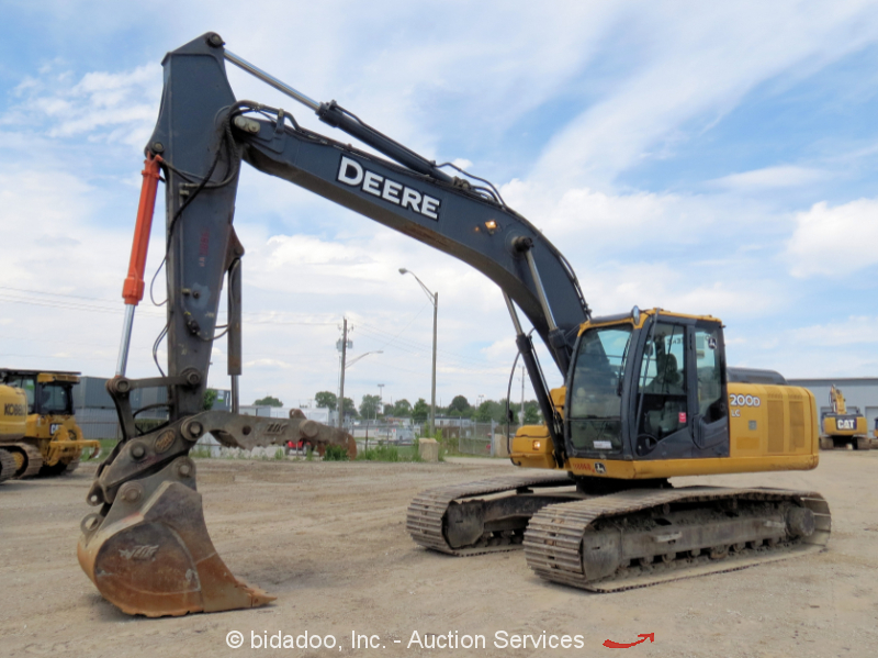 2011 John Deere 200D LC Excavator Hydraulic Thumb A/C Cab Hyd QC bidadoo