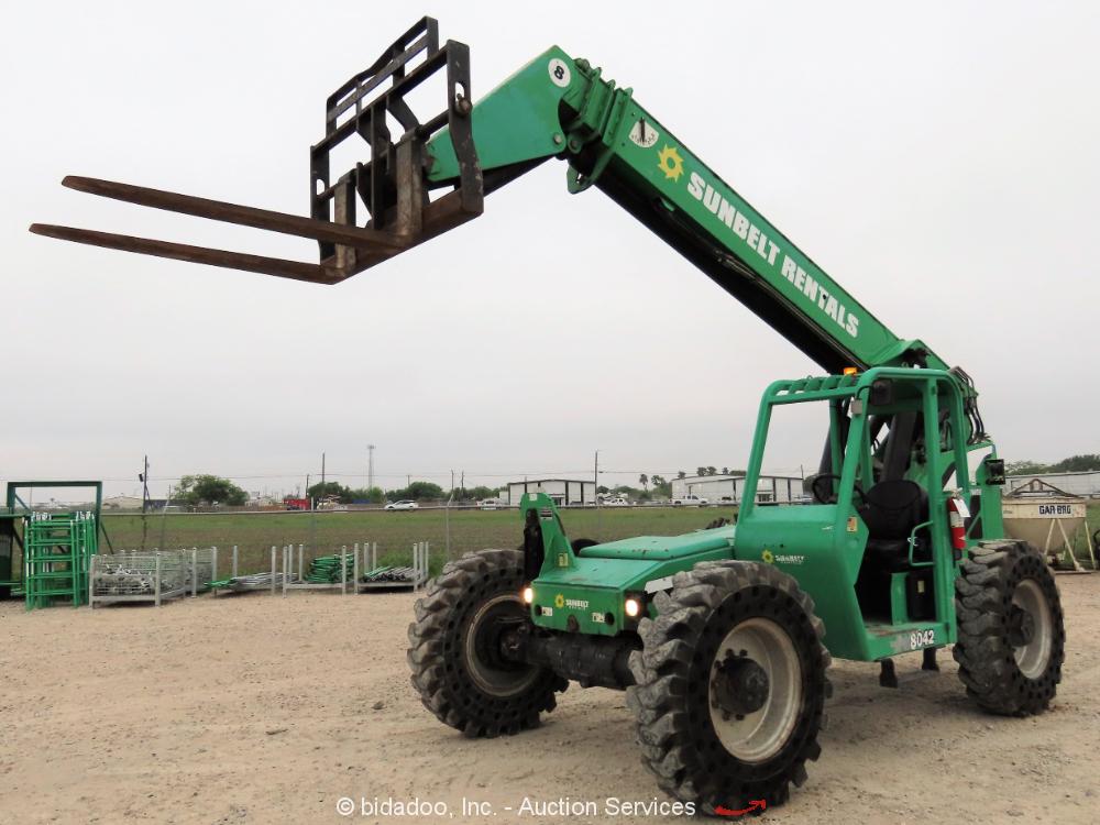 2012 Skytrak 8042 42' 8,000LB Telescopic Reach Fork Lift Telehandler Aux bidadoo