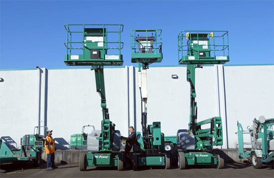 Various Boom lifts being inspected